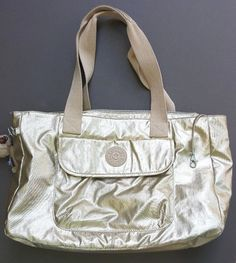 Kipling WALU Large Toasty Gold Tote Bag Handbag Purse HB6279-202 w/ Monkey Nobu #Kipling #TotesShoppers
