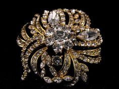 Fall Sale Massively Iced Crystal Brooch Vintage by hipcricket, $35.00