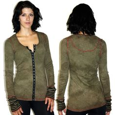 Jack & Jinger Olivia TA054 $96  Snap front slub knit l/s top with contrast cuffs and stitching. #Madeintheusa
