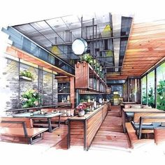 Trendy house sketch marker architectural drawings - New Sites Interior Architecture Drawing, Architecture Drawing Sketchbooks, Interior Design Renderings, Drawing Interior, Interior Rendering, Interior Sketch, Concept Architecture, Landscape Architecture, Architecture Design