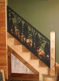 """Great inspiration and real life photos of building a lodge style home! ohgraciepie: Working on the """"Lodge"""" Deck Railing Design, Stair Railing, Metal Railings, Banisters, Lodge Style Decorating, Lodge Decor, Rustic Staircase, Timber House, Laser"""