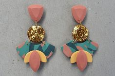 Polymer clay earrings +++  Copper resin glitter detail +++ Tropical paradise pink, aqua, teal and lemon yellow