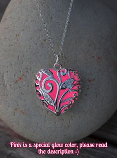 PRE ORDER Pink Glowing Necklace - Teen - Wife - Necklace - Glow in the Dark - Pink Heart Necklace - Gifts for Her - Glowing Jewelry