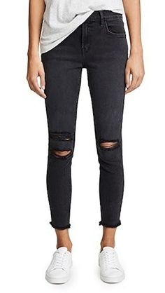 J Brand Photo Ready Cropped Mid Rise Skinny Jeans Cropped Skinny Jeans, Mid Rise Skinny Jeans, J Brand Jeans, Jeans Brands, Fashion Branding, Distressed Denim, Stretch Denim, Black Jeans, Fashion Outfits