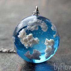 Blue sky necklace Sky cloud necklace Terrarium jewelry Sky jewelry Gift under 50 Gift -mature. - Epoxy Resin - Blue sky necklace Sky cloud necklace Terrarium jewelry Sky jewelry Gift under 50 Gift -mature for h - Bird Jewelry, Cute Jewelry, Jewelry Gifts, Beaded Jewelry, Handmade Jewelry, Handmade Gifts, Handmade Ideas, Handmade Market, Jewellery Box