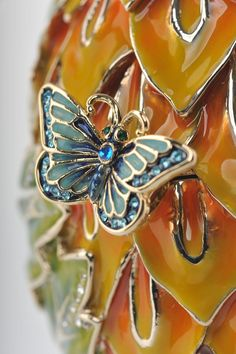 Green & Yellow Faberge Egg with Blue Butterflies