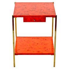charles et fils: #orange lacquered side #table #vintage