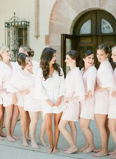 a brides and her bridesmaids having a fun getting ready moment in their robes at the powel crosley estate! loved the simple pale blush robes and the giggles these best friends shared as we shot their getting ready on film Wedding Shoes, Wedding Jewelry, Wedding Gowns, Bridesmaids, Bridesmaid Dresses, Dance The Night Away, On Your Wedding Day, White Dress, Blush