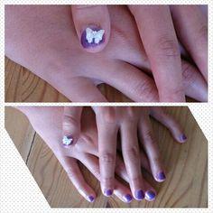 Purple shellac cream bow