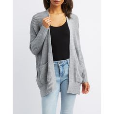 Charlotte Russe Shaker Stitch Open-Front Cardigan ($25) ❤ liked on Polyvore featuring tops, cardigans, grey, oversized grey cardigan, long grey cardigan, long cardigan, long cardi and grey open cardigan