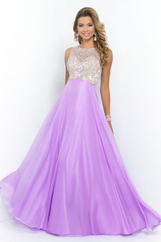 2015 Bateau A Line Prom Dress With Flowing Chiffon Skirt Sweep Train Beaded
