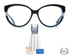 Óculos da Via Lorran com look branco e azul.
