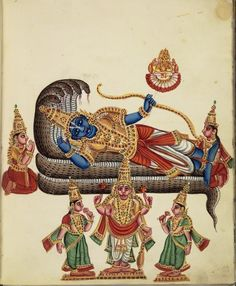 Viṣṇu reclines on the coils of the five-hooded Shesha (also known as Ananta). In his left hand he carries a bow, while his right hand supports his head. From Viṣṇu's navel sprouts a lotus on which Brahmā sits, holding the pustaka (book) & the kamandalu (water vessel) and performs anjali mudra. Śrī Devi kneels at the feet of her lord. Bhu Devi kneels near his head. In the foreground, stands Viṣṇu as Varadaraja, carrying the chakra (discus) & the shankha (conch). Company Schl, 1830, Trichinop... Mysore Painting, Tanjore Painting, Mughal Paintings, Indian Paintings, Indian Folk Art, Indian Artist, Indian Traditional Paintings, Jr Art, Lord Vishnu Wallpapers