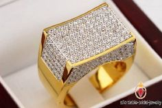 Gold Chains For Men Men's New Yellow Gold Round Diamond Mens Engagement Pinky Ring Band