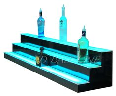 "66"" Lighted Bar Shelf 3 Steps LED Liquor Bottle Glorifier Back Bar Shelving 