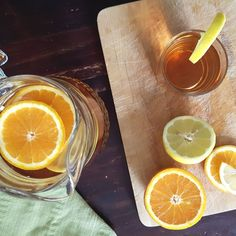 Icetea met sinaasappel, citroen en gember / icetea with oranges, lemon and ginger - Het keukentje van Syts