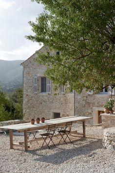 Weekend Escape: Villa Kalos On Ithaca, Greece Outdoor Rooms, Outdoor Dining, Outdoor Tables, Outdoor Gardens, Outdoor Decor, Dining Area, Dining Table, Teak Table, Rustic Outdoor