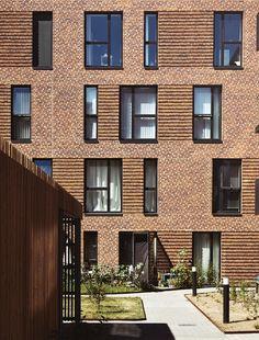 Brick Architecture, Residential Architecture, Architecture Details, Brick Design, Facade Design, Brick Facade, Facade House, Habitat Collectif, Types Of Bricks