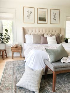 Make your primary bedroom feel cozy with textiles | House & Roses Cozy Bedroom, Bedroom Ideas, Casual Mom Style, Grey Fabric, Home Textile, Night Out, Mid-century Modern, Sweet Home, Bedrooms