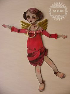 Articulated Paper Doll OOAK Hand Painted by girlwithflaxenhair