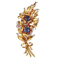 VAN CLEEF & ARPELS Exceptional 1940's Floral Spray | From a unique collection of vintage brooches at http://www.1stdibs.com/jewelry/brooches/brooches/