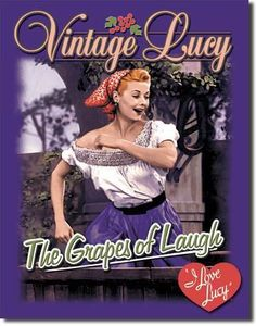 """I Love Lucy Grapes of Laugh Vintage Sign Reproductionprovides just the right accent for your home, business or any decorating project. Measures-12.5W x 16""""""""H Has holes in corners for easy hanging! Ro"""