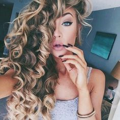 Love these bouncy side-swept curls.  Makeup is great too.  Just a really beautiful look for my BF!