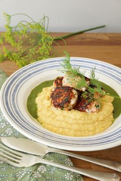 salmon fishballs with herby spinach sauce and califlower-squash mash- Healing Family Eats