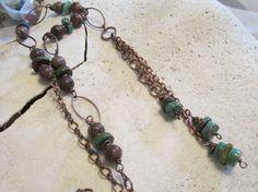 Boho Jewelry Turquoise Jewelry Copper Jewelry by edanebeadwork, $28.00