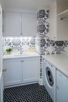"Caesarstone Organic White Quartz countetop.  floor: Noir Hex Travertine Mosaic Tile – 2"" X 2"". Martha O'Hara Interiors."