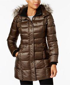 Bernardo Faux-Fur-Trim Hooded Puffer Coat