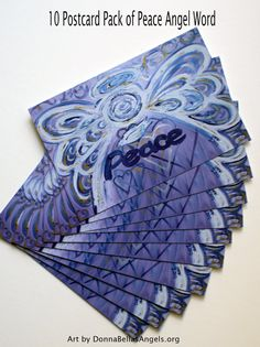 Peace Word Purple Angel Inspirational Art Postcards (10 Pack) by DonnaBellas Angels