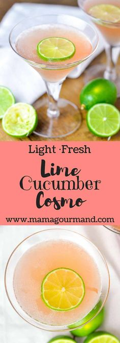 Lime Cucumber Cosmo is the epitome of a refreshing cocktail made with cucumber vodka, fresh lime juice, triple sec, and cranberry.  http://www.mamagourmand.com via @mamagourmand