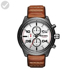 Diesel Men's DZ4438 Padlock Gunmetal IP Brown Leather Watch - Mens world (*Amazon Partner-Link)