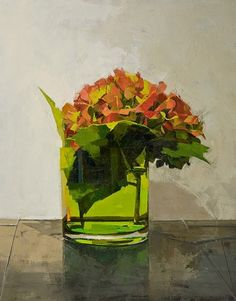 I like the straight brushstrokes that read as regular from far away.    Autumn hydrangea by katherine Kehoe