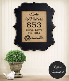 Personalized Housewarming Gift  Burlap House by 33marketstreet, $40.00. Frame included!  $20.00 without.