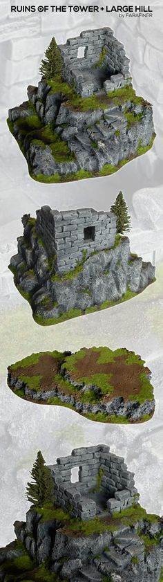 CoolMiniOrNot - RUINED TOWER + HILL fantasy scenery terrain by studiolevel