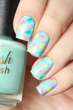 Nail art stamping! Mini pastel macarons using Delush Polish's High & Mightea stamping plate.