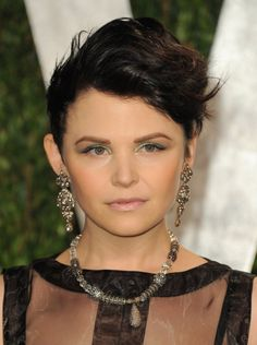 Ginnifer Goodwin - pixie goddess.  Great idea for styling a long pixie during early grow out.