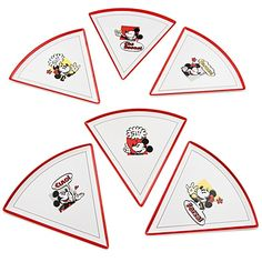 Mickey and Minnie Mouse Pizza Plates -- Set of 6