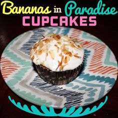 EmilyCanBake: Bananas in Paradise Cupcakes - Hazelnut-filled Cupcakes with Coconut Cream Frosting