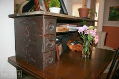 Making over an old desk using antique sewing table drawers - Table & Hearth