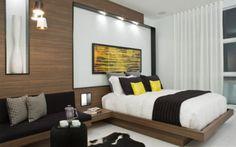 chambre moderne: style épuré, lignes droites, accents jaunes