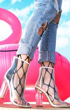 Transparent Heels, Leather Texture, 2 Inch Heels, Stiletto Heels, Peep Toe, Lace Up, Booty, Stylish