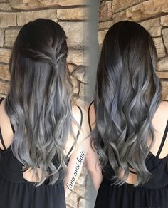 Pin by amy sanders parker on hair hair, dyed hair, hair color balayage. Balayage Ombré, Hair Color Balayage, Blonde Color, Balayage Highlights, Grey Blonde, Gray Color, Blonde Hair, Grey Ombre Hair, Silver Grey Hair