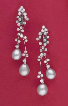 PHILLIPS : CH060107, , A Pair of Cultured Pearl and Diamond Earrings