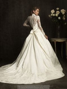 wedding dresses with lace sleeves Picture - More Detailed Picture about Attractive vestido de noiva curto V neck Vestido de noiva taffeta Wedding Dress 2015 long sleeve empire wedding dresses Picture in Wedding Dresses from Store Lace Wedding Dress With Sleeves, Wedding Dress Train, Long Sleeve Wedding, Wedding Dress Styles, Wedding Gowns, Lace Sleeves, Modest Wedding, 2015 Wedding Dresses, Dresses 2013