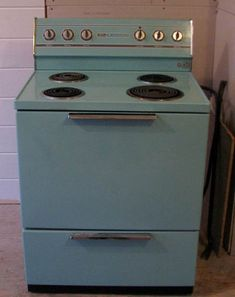 Turquoise Stove. I believe we had a gas range, though...