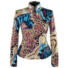 Abstract Wings Western Show Shirt (XS-XL) Such a pretty mix of colors.  The purple and aquamarine pop against the rich sand tones.  This jacket features our stunning Crystal Crown design.  The perfect touch of sparkle. #WesternPleasure #Showmanship #ShowShirt #PlusSize #LisaNelle #Couture #AQHA