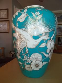 HUGE Vintage Tlaquepaque Mexican Pottery Grabber Bird Flowers on Turquoise Vase